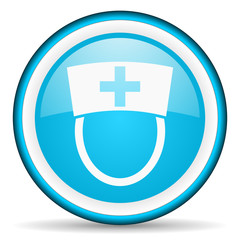 nurse blue glossy icon on white background