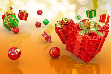 3d illustration of jumping Christmas gift and bauble