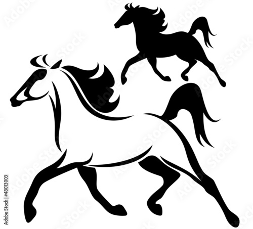 quotrunning horse vector outline and silhouettequot stock image