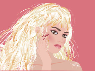 Blonde glamour fashion  girl , vector illustration