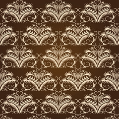 Beige vintage pattern on a brown background