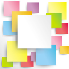 Colorful squares on white paper with shadow (vector)