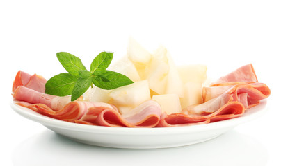 parma ham and melon, isolated on white