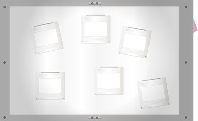 Sildes on a light table, free space for pix,vector illustration