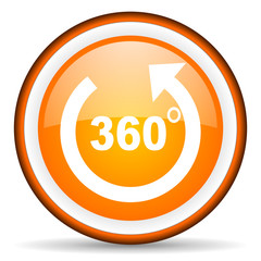 360 degrees panorama orange glossy icon on white background