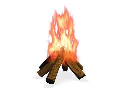 3D wood fire illustration