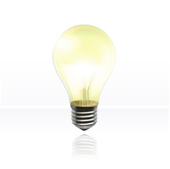 Realistic light bulb. Vector background design.
