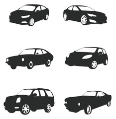Sets of silhouette cars, create by vector