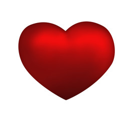 Red heart isolated on white background. Love concept illustratio