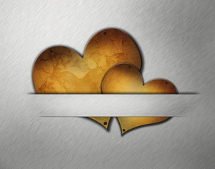 love symbol  on metal wall background