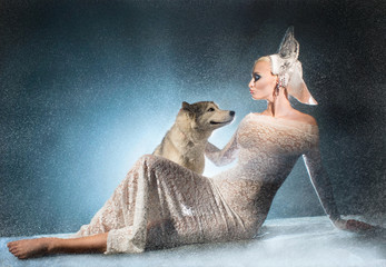 Snow maiden with dog
