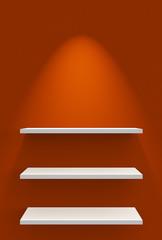Drei Regale an Wand mit Beleuchtung - Orange Weiß