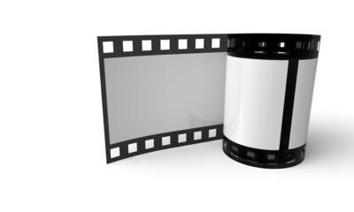 3D Filmrolle stehend - Weiß Schwarz