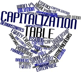 Word cloud for Capitalization table