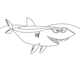 The coloring page - happy shark