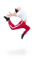 Modern man dancer jumping