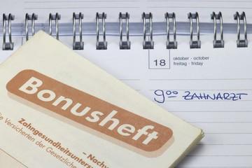 Termineintrag 'Zahnarzt' im Kalender mit Bonusheft