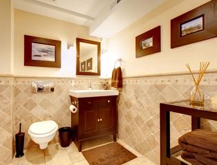 Home bathroom classic elegant interior.