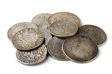Pail of  thalers - ancient european silver coins