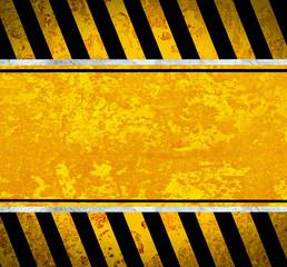 Grunge metal plate with warning stripes