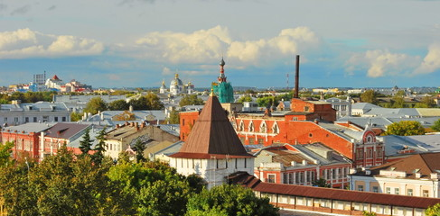 Top view of the ancient Russian city of Yaroslavl