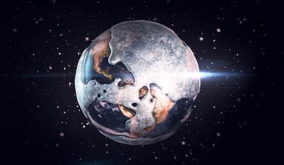 Frozen earth in space