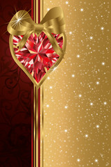 Valentine's day banner with ruby heart , vector
