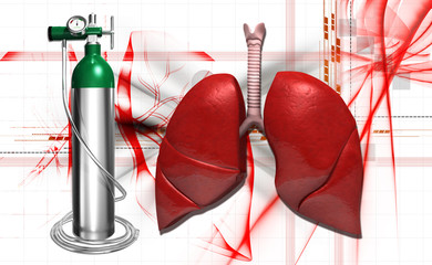 human lungs and oxygen cylinder
