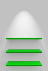Drei Regale an Wand mit Beleuchtung - Weiß Grün