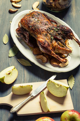 Roasted duck with dried apples