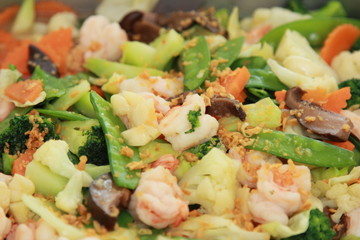 stir fried mixed vegetables with shrimps