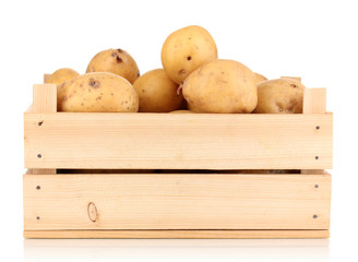 Ripe potatoes on wooden box isolated on white