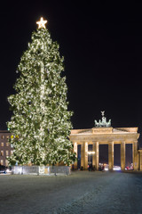 Printed roller blinds Berlin Brandenburg Gate and the Christmas tree.