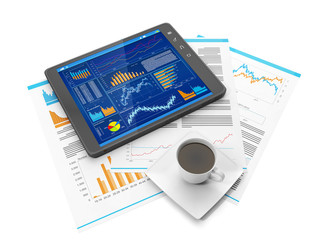 Illustration on the theme of business. Tablet PC biznres site, a