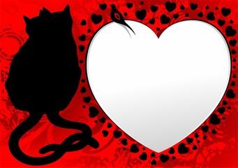 Cats in Love Heart Valentine Card-Gatti San Valentino Auguri