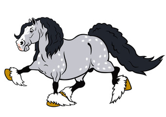 running cartoon heavy horse