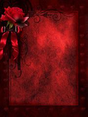 Obraz Ciemne gotyckie tło z różą i wstążką - fototapety do salonu