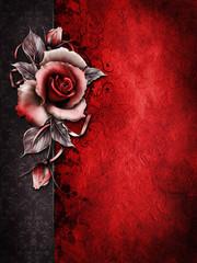 Obraz Gotyckie tło z czerwoną różą - fototapety do salonu