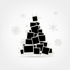 Christmas tree design made from photo frames