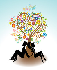 Man, Woman sitting under Love tree
