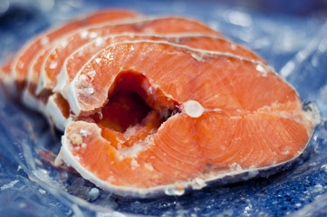 Sliced ??salmon steaks, for sale in a supermarket