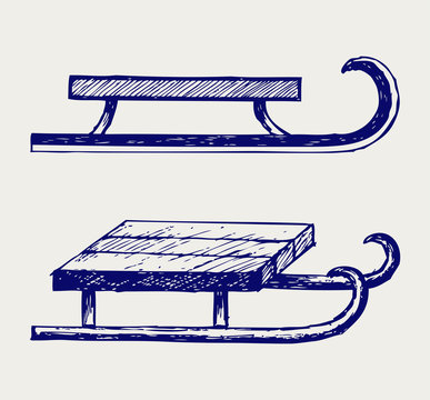 Wooden sled. Doodle style