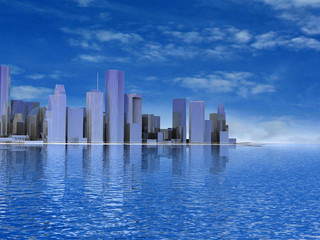 3D abstract modern city on beautiful seascape