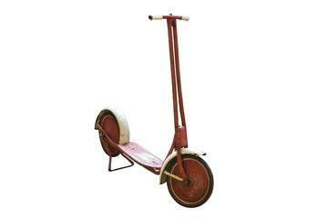Vintage red scooter on white. Clipping path included.