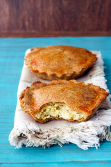 Whole wheat pies with vegetables and filling