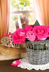 Beautiful pink roses in vase
