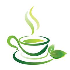 vector sketch of green tea cup, icon