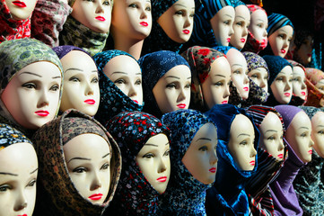 Closeup of the female mannequin heads in hijab