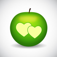 Green apple with two hearts