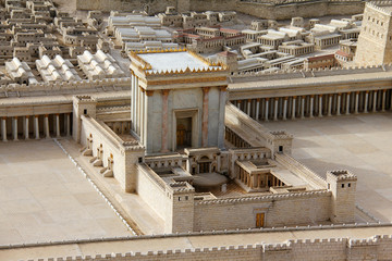 Wall Murals Place of worship Second Temple. Model of the ancient Jerusalem.